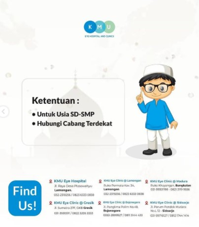 Kacamata gratis untuk santri dari KMU
